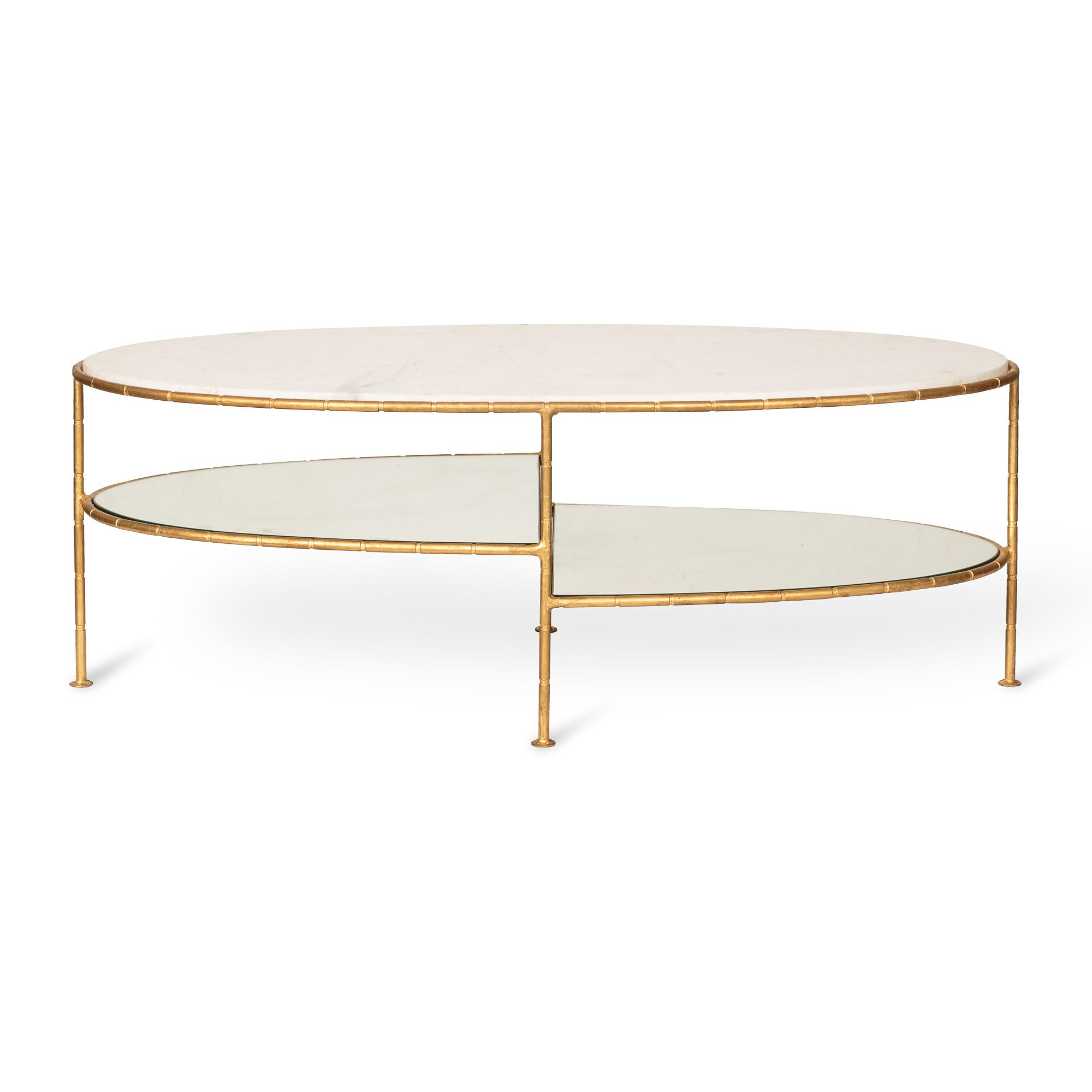 Buy the White Luxe Three Oval Bamboo Coffee Table at Oliver Bonas ...
