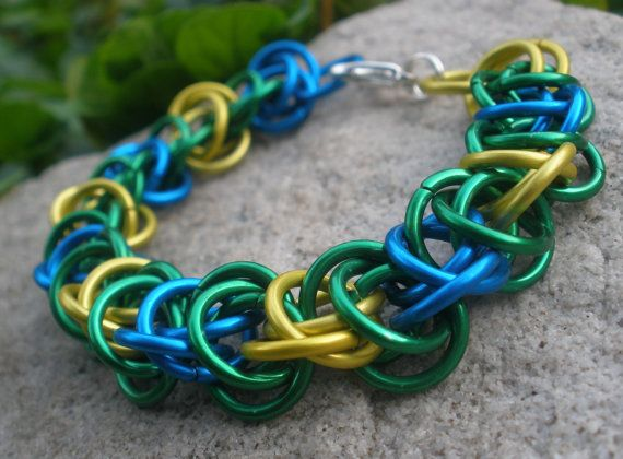 Upperland - Blue Green and Yellow Chainmaille Bracelet - Chainmail Jewelry Colorful Bracelet Rocker Jewelry Rocker Chic Fantasy Jewelry