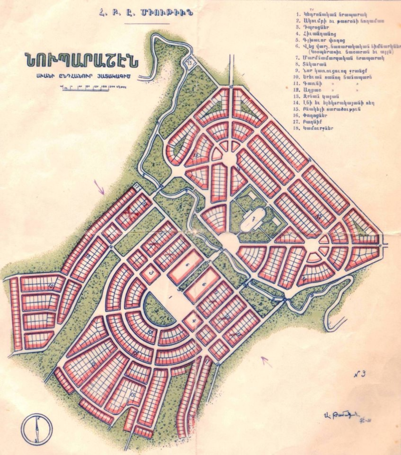 Plan of Nubarashen settlement in Armenia by the architect Alexander Tamanian, 1926