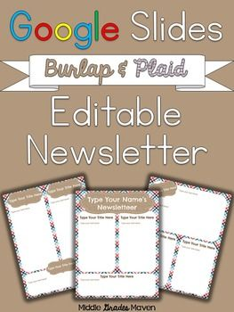 Google Slides Editable Newsletter Burlap Stripesgoogle Slides