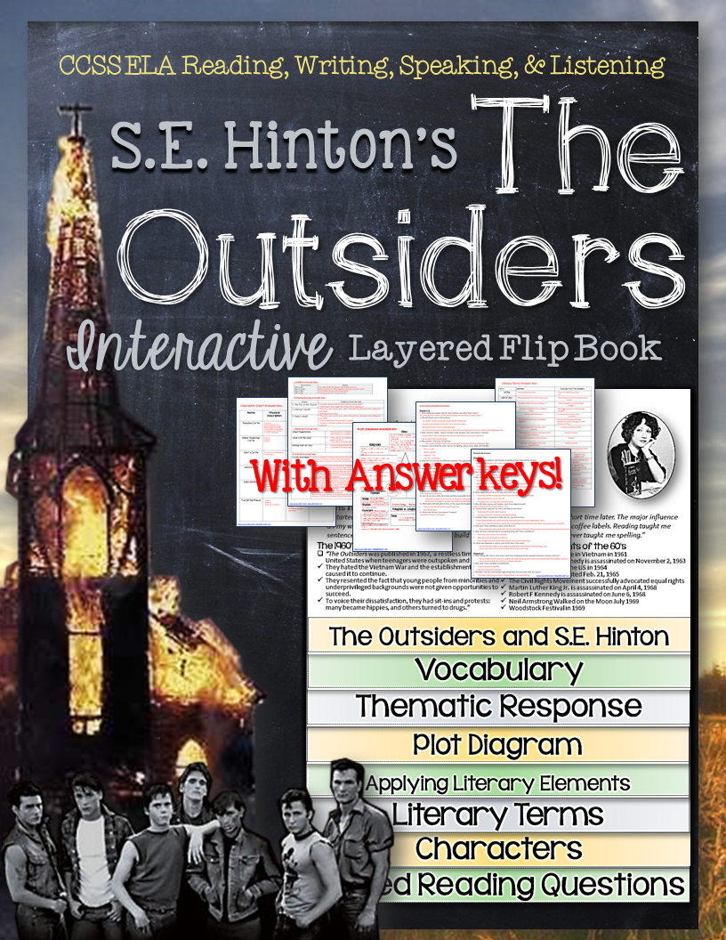 the outsiders novel study literature guide flip book tactical rh pinterest com