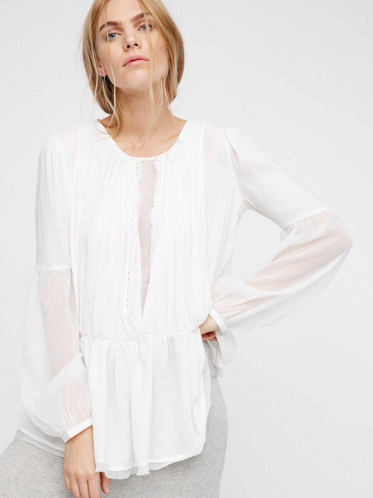 Soul Serene Top | Victorian-inspired blouse in an effortless silhouette with an overlay in front featuring a scalloped crochet trim and an open back. Pieced with sheer dotted fabric down the front, on the sleeves, and the hem.