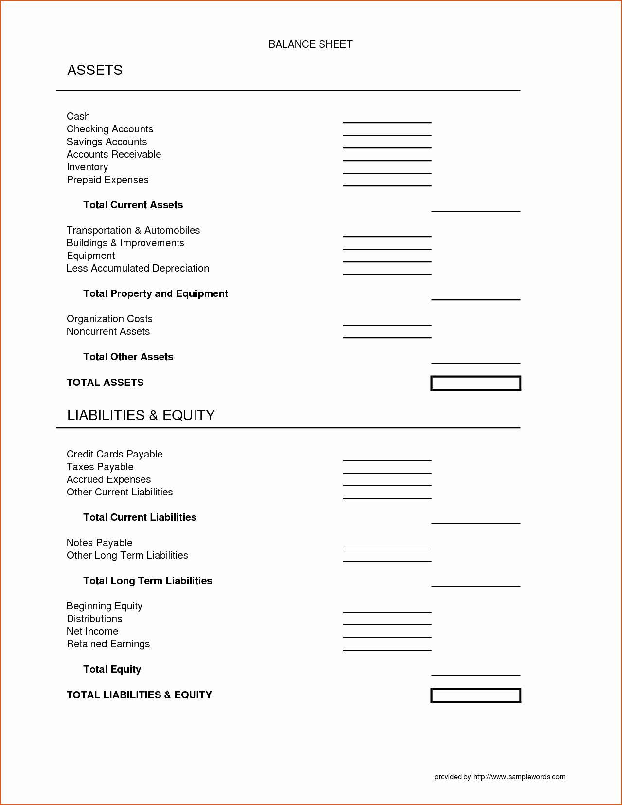 Statement Of Assets And Liabilities Template Balance Sheet