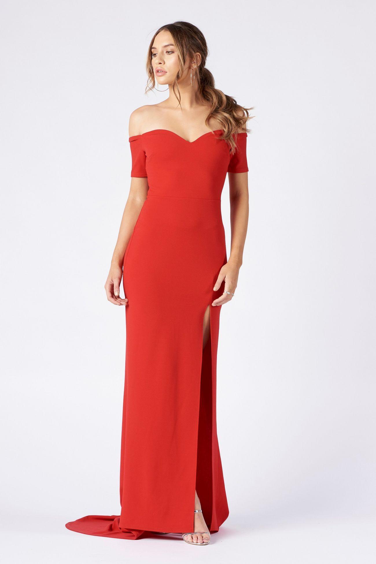 Bardot Thigh Split Maxi Dress By Club L Maxi Dress With Sleeves Bond Girl Dresses Midi Dress With Sleeves