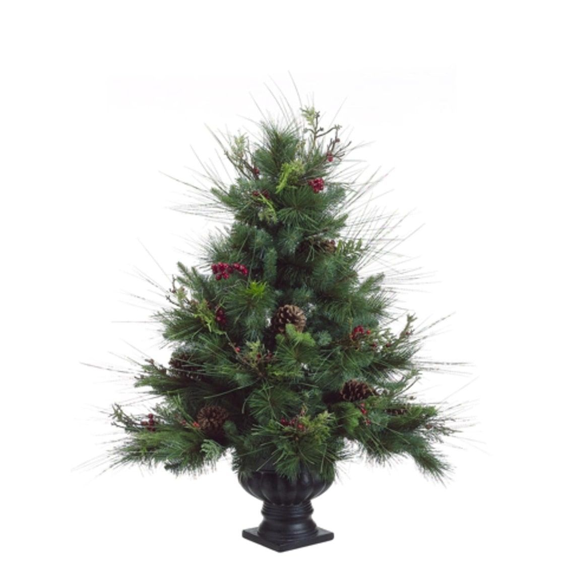 3 Potted Pine Artificial Christmas Tree With Pine Cones And Berries Unlit Green Allstate Pvc Pine Cone Christmas Tree Potted Christmas Trees Christmas Tree