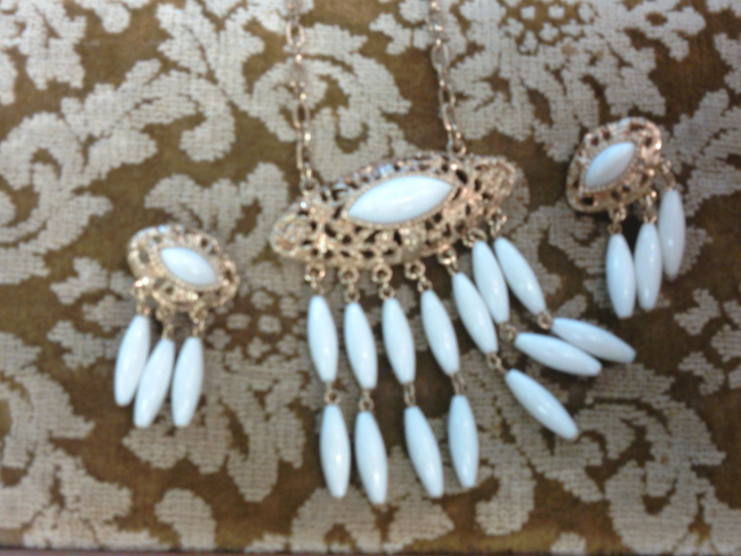 Vintage Caroline Emmons White and Gold Dangling Earrings and Necklace Set - 1960s by strangelark on Etsy
