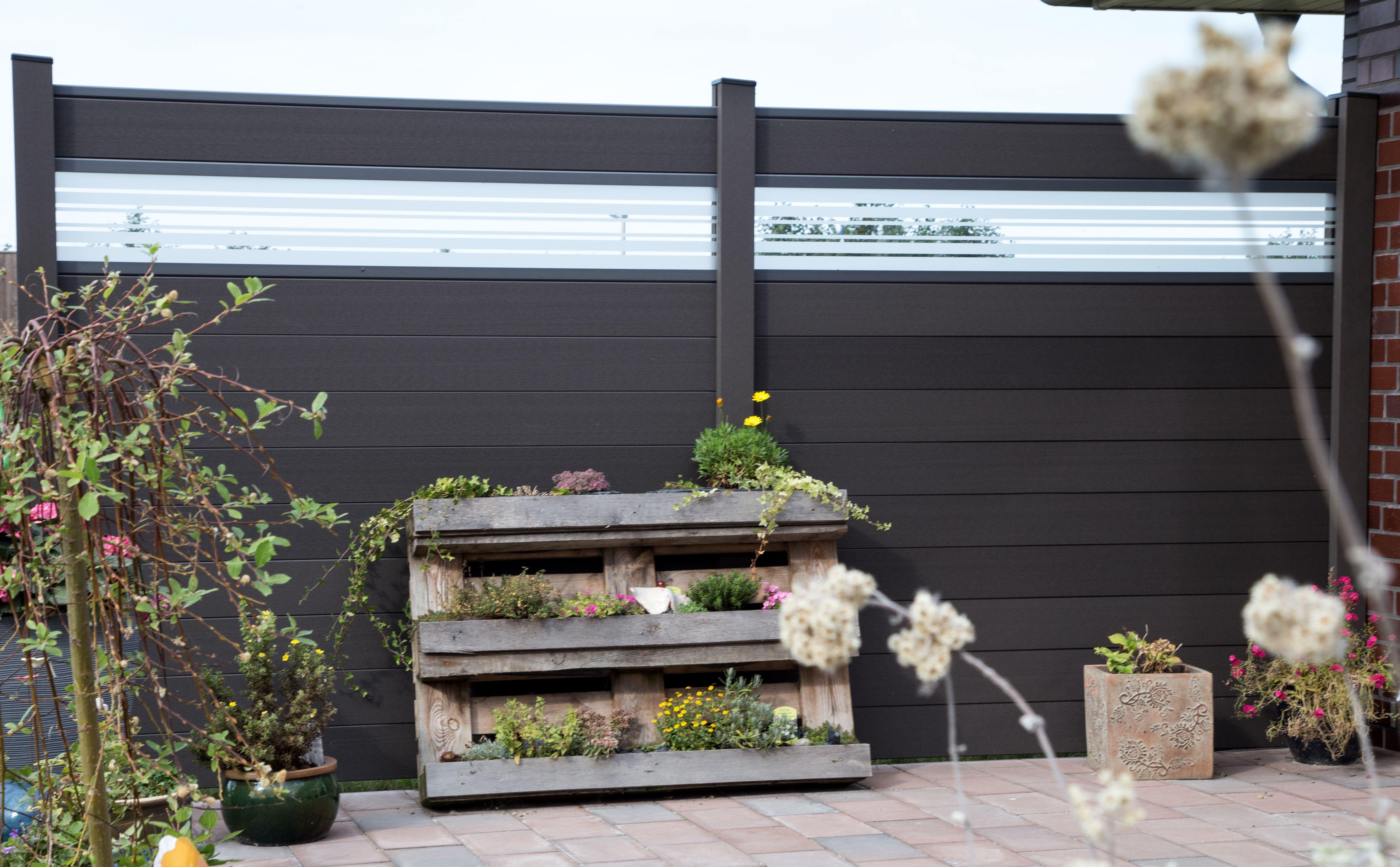 grojasolid bpc steckzaun in anthrazit mit designeinsatz With whirlpool garten mit balkon glas anthrazit