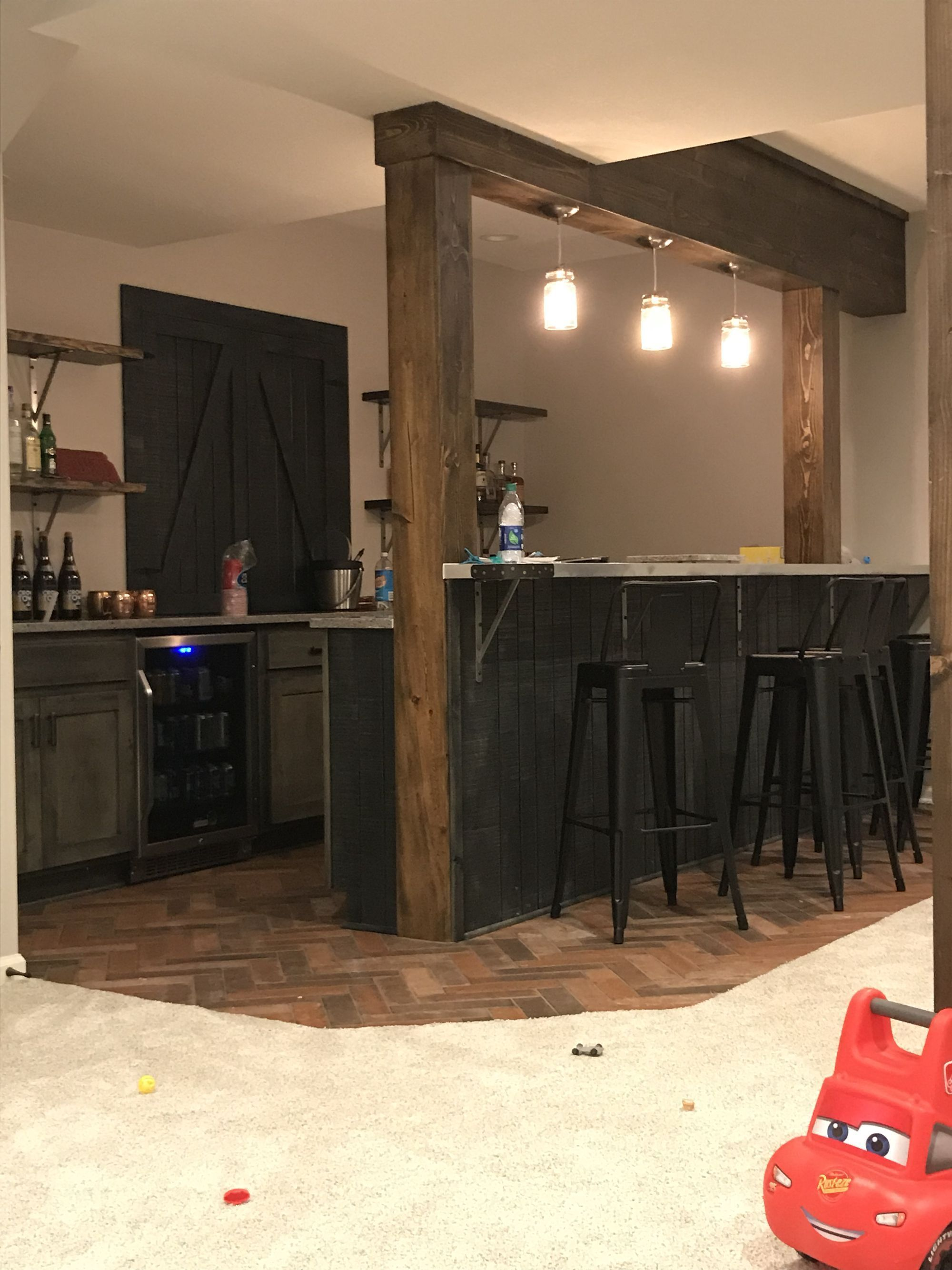Lighting Basement Washroom Stairs: Basement Bar #HomeBarDecor
