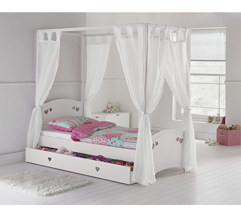 Home Mia White Single 4 Poster Bed Frame In 2020 White Single