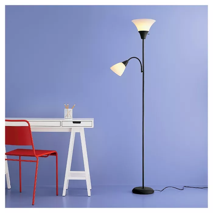 Torchiere With Task Light Floor Lamp Room Essentials In 2020 Black Floor Lamp Floor Lamp Torchiere Floor Lamp