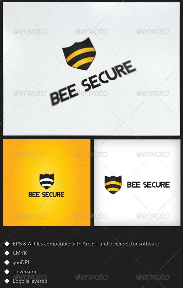 Bee Secure - Logo Template Logo templates, Bees and Template - security manual template