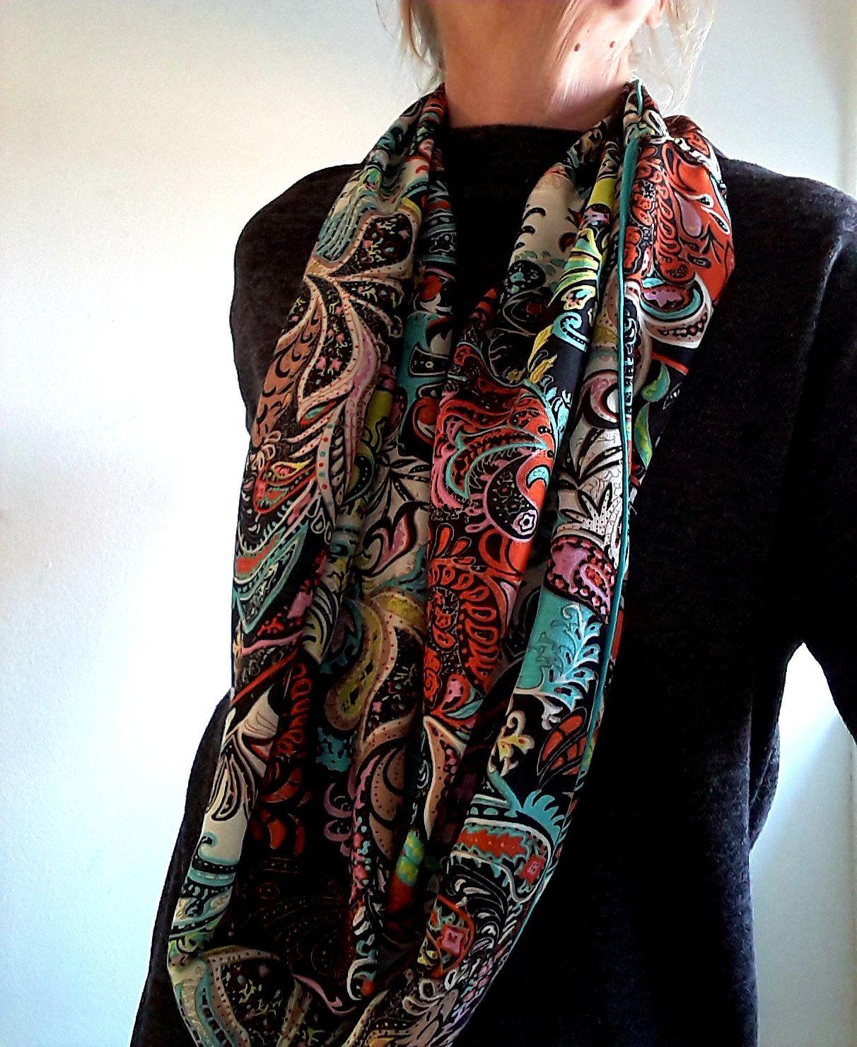 c9be931e083e8 Foulard femme,écharpe femme, accessoire femme, tissu viscose multicolore , motif  cachemire,