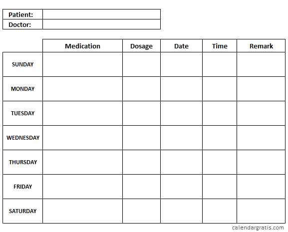 Simple medication chart printable template - The template ...