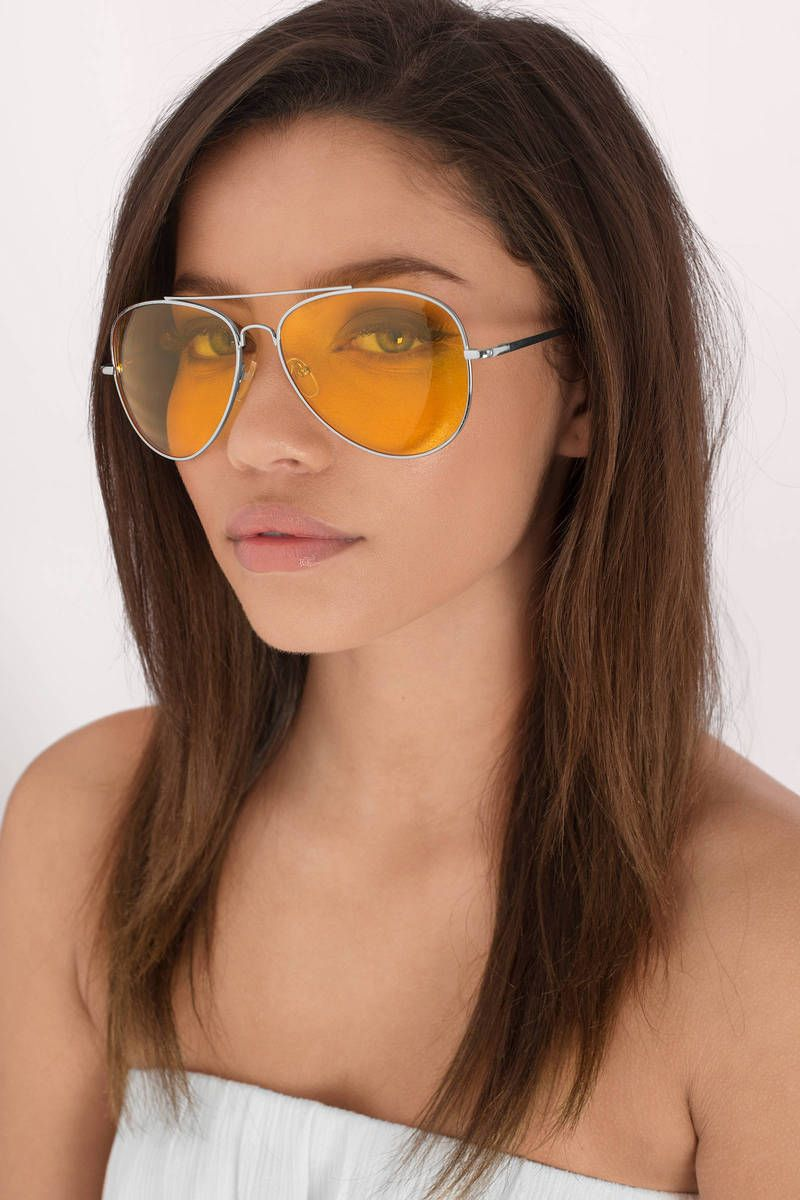 cdfc32f7273 All About It Silver   Yellow Aviator Sunglasses