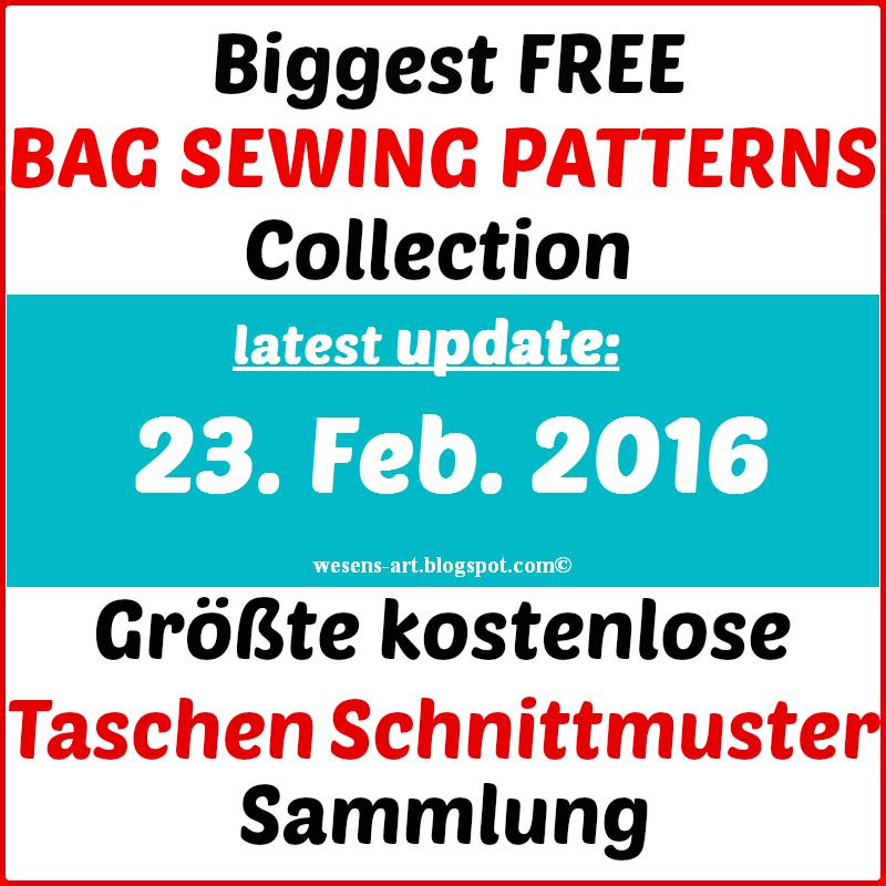 Biggest Free Bag Sewing Patterns Collection / Größte Taschen ...