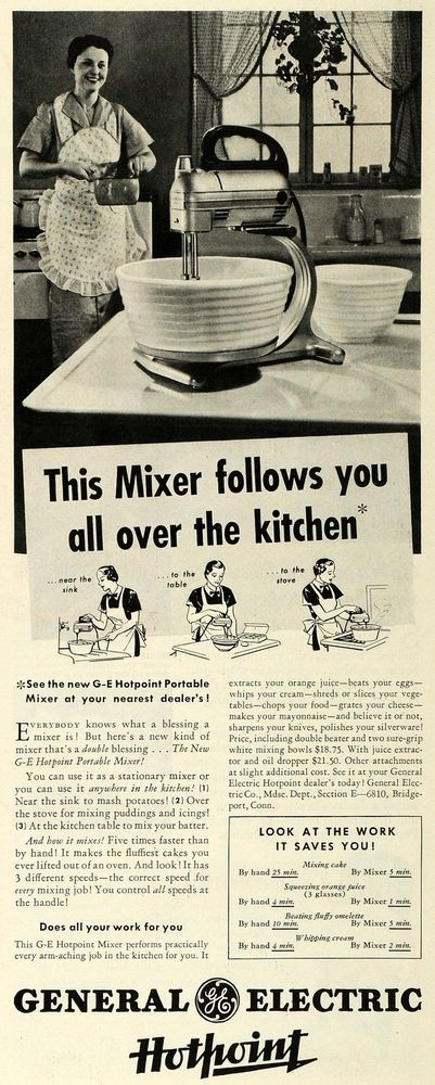 1935 Ad GE Hotpoint Portable Mixer General Electric