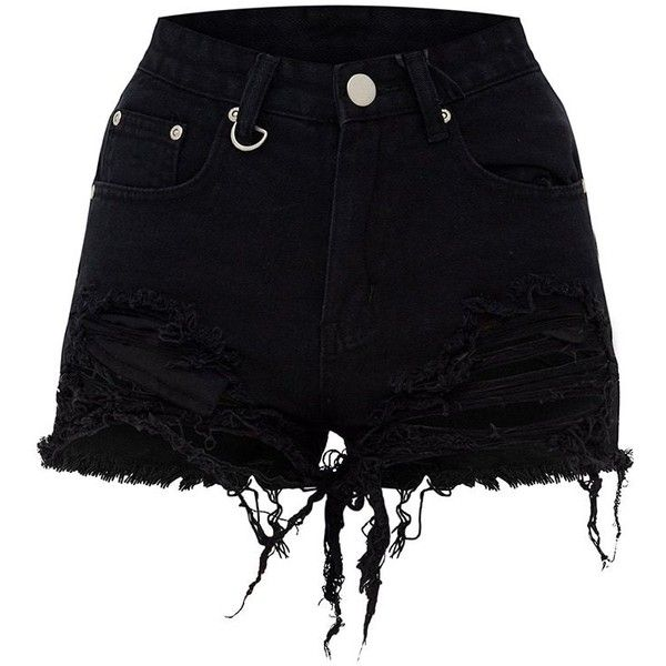 93fb50450 Jeanie Black Extreme Ripped Mom Denim Shorts ($28) ❤ liked on Polyvore  featuring shorts, torn jean shorts, jean shorts, destroyed jean shorts, ...