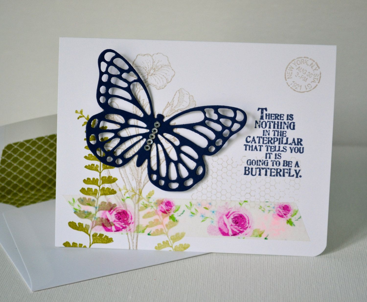 Shabby Chic Butterfly Greeting Card//Encouragement Card//Encouragement Greeting Card//Thinking of You Card by TheRoundedCorner on Etsy