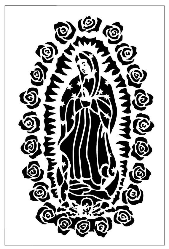Reusable Laser Cut Stencil Of Our Lady Of Guadalupe 7mil