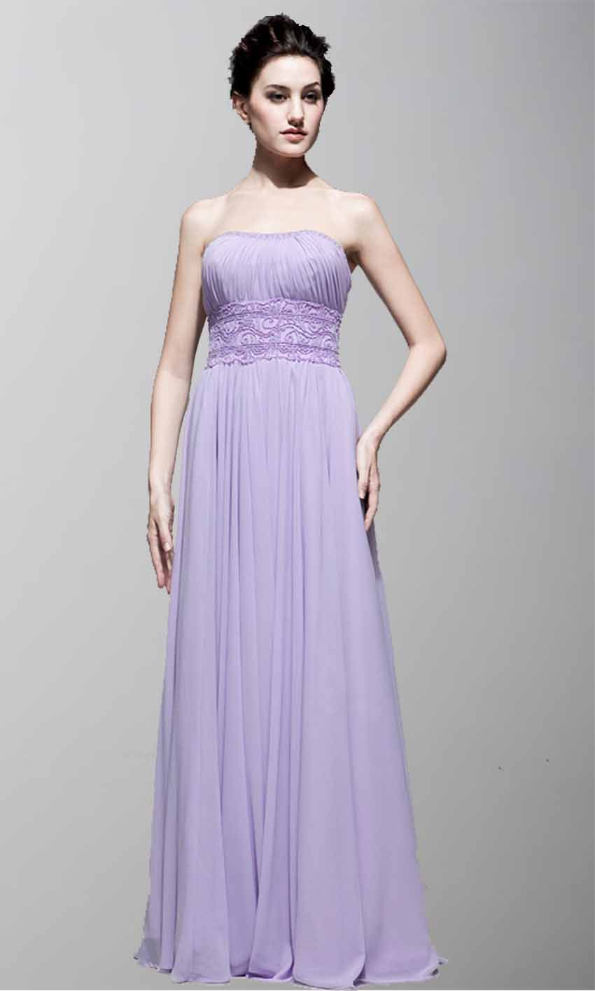 Purple Strapless A-line Long Chiffon Bridesmaid Dress KSP150 ...