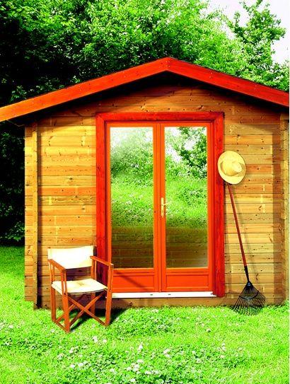 Une double porte vitrée (avec double vitrage Maisonelle) réhaussée - lasure pour bois exterieur