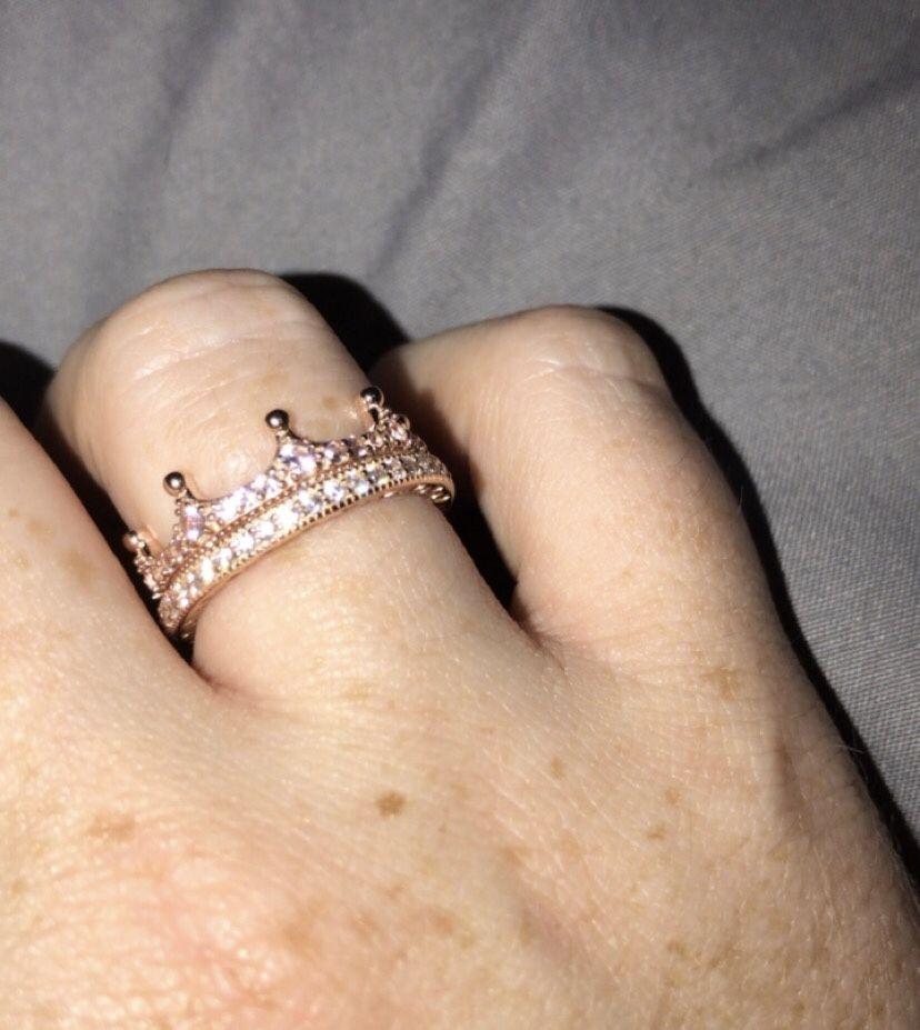 Pink Enchanted Crown Ring In Pandora Rose Pandora Rings Stacked Stylish Jewelry Trendy Ring
