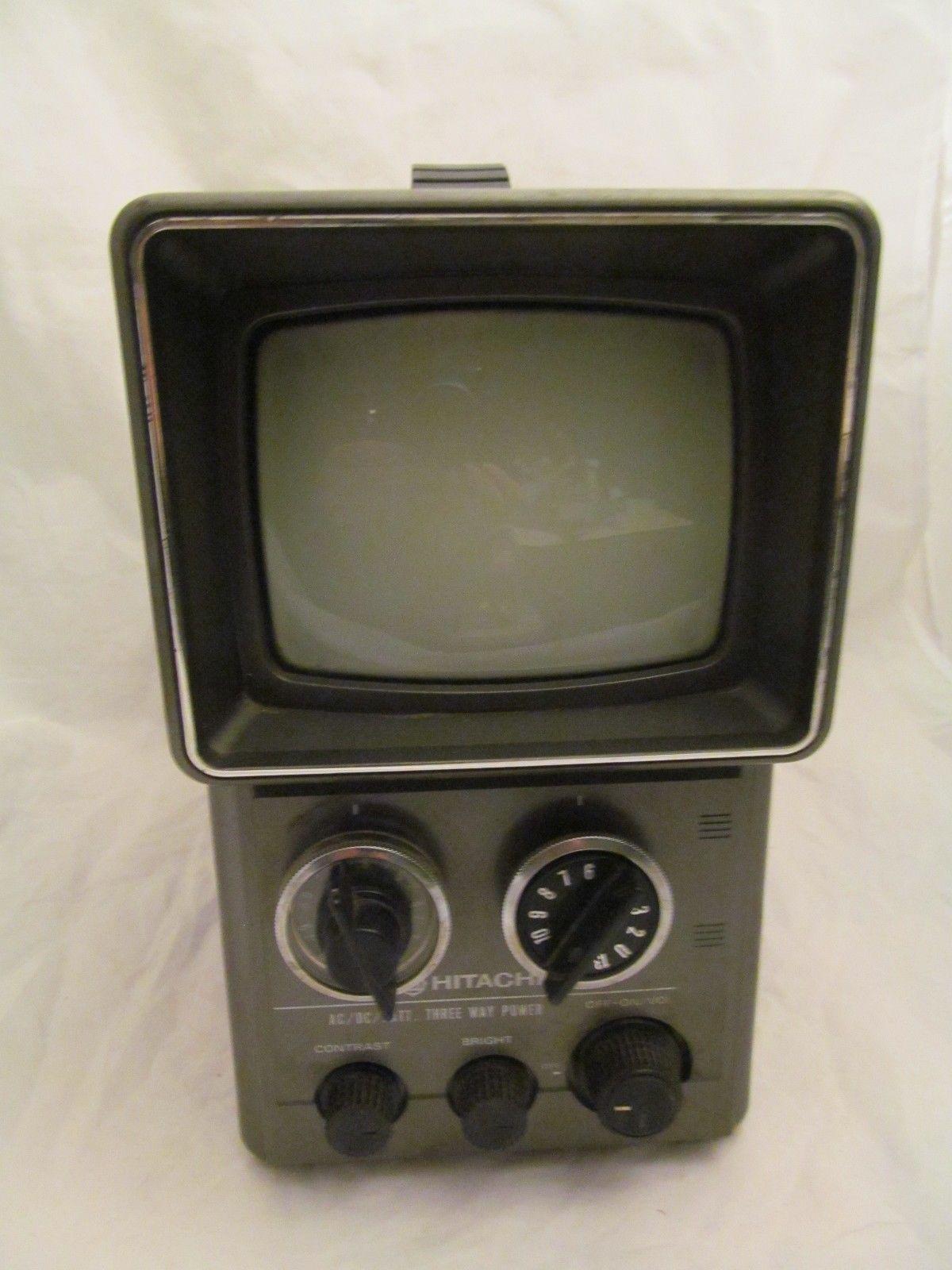 Vintage portable TV Hitachi K1100 Batteries wall plug