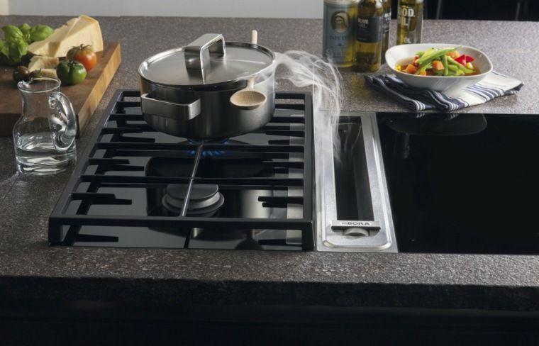 Photo cuisine avec plan de travail moderne en 65 idées Kitchen - Table De Cuisine Avec Plan De Travail