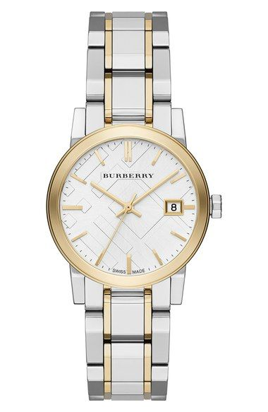Burberry Medium Check Stamped Bracelet Watch 34mm Available