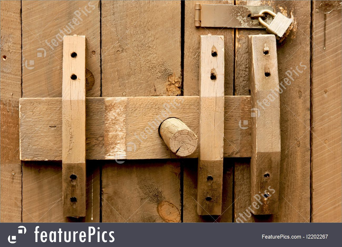 Antiques And Rarity Old Wooden Door Slide Lock And A Modern Padlock