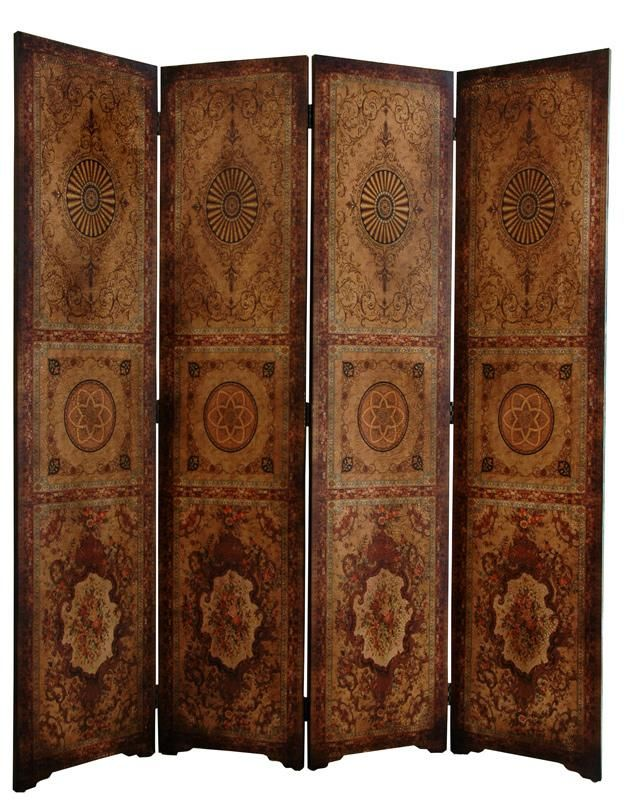 6 Ft Tall Solid Frame Fabric Room Divider 4 Panels: 6 Ft. Tall Olde-Worlde Parlor Room Divider In 2019
