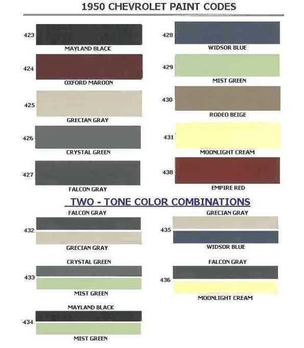 1950 Chevrolet Body Colors Body Colour Paint Color Codes Car Paint Colors