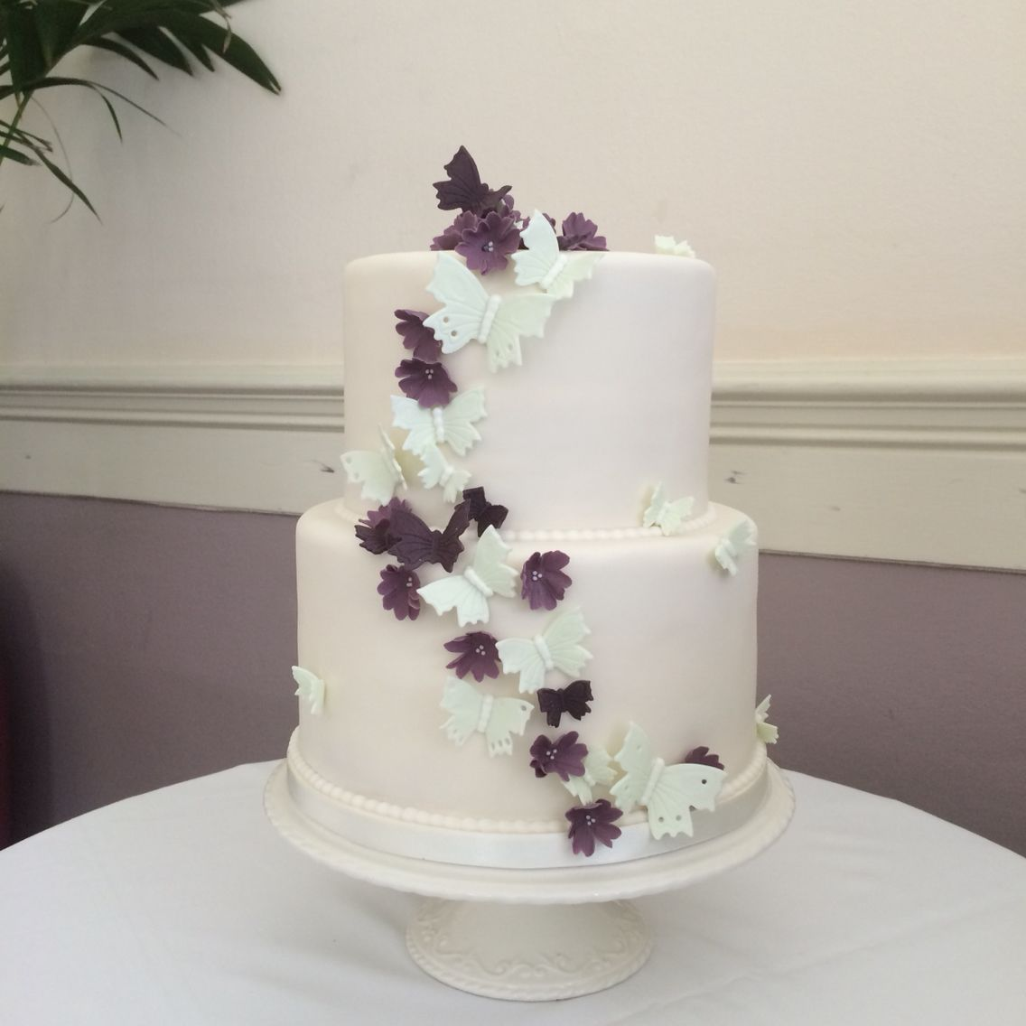 Mint and purple butterfly wedding cake | Kawaii Cakes | Pinterest ...