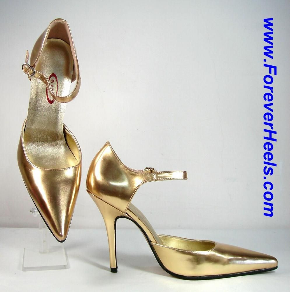ForeverHeels Style DOROTHY, V-shaped Toes, Sideless Pumps with Instep Straps, Gold PU