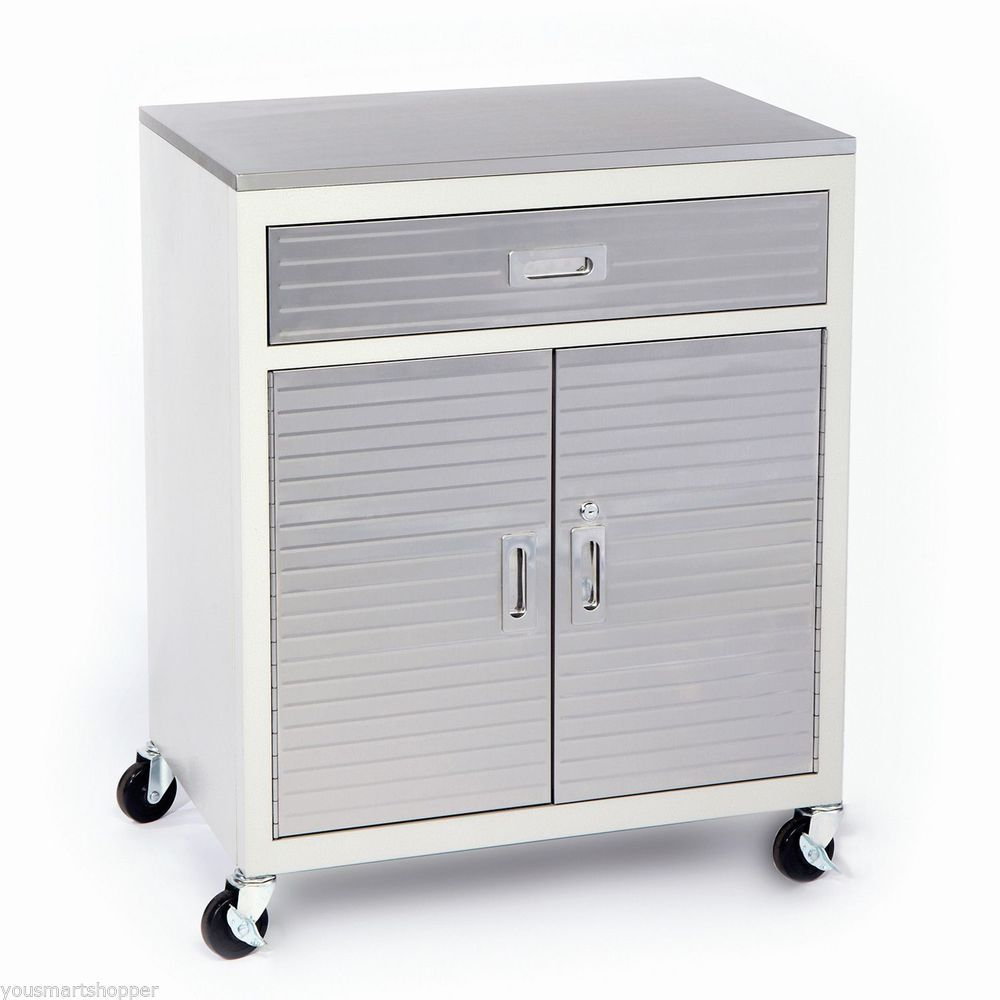 Stainless Steel 1 Drawer Rolling Tool Chest Box Cabinet Toolbox Storage Garage Sevilleclics