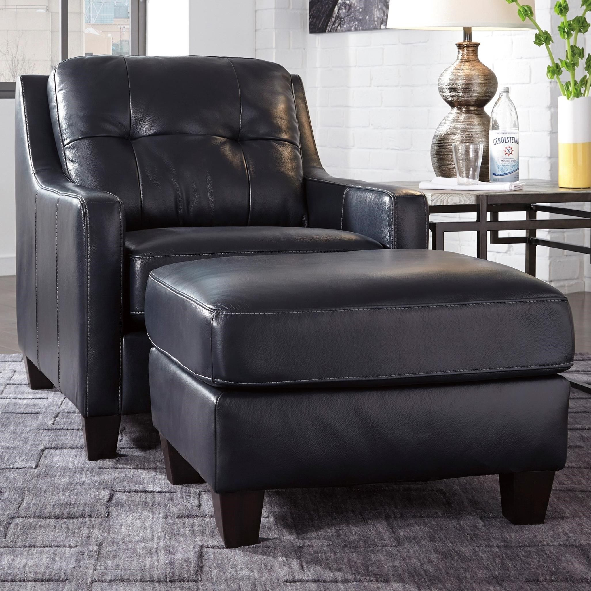Contemporary Leather Match Chair Ottoman Chair And Ottoman