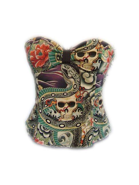 Rockabilly Halter Top Geisha Skull Tattoo by LANineteenSIxtySeven, $35.00