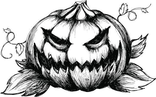 Scary Jack Olantern Vector Art Illustration Tattoo Ideas