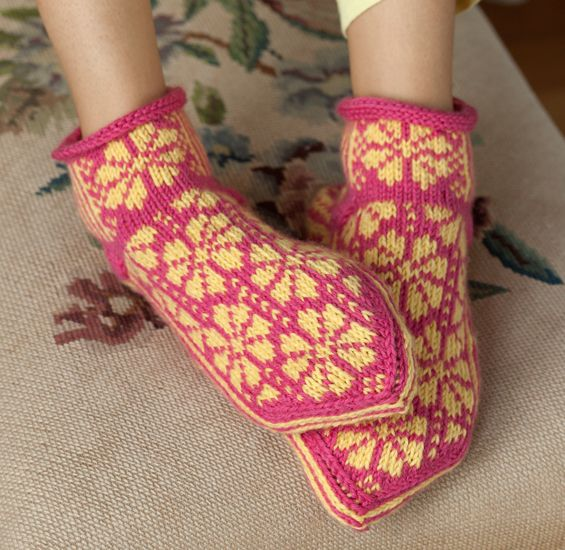 Love The Color Combo In These Slipper Socks From The Book Knitting Scandinavian Slippers And Socks Slippers Pattern Knitting Socks Knitting
