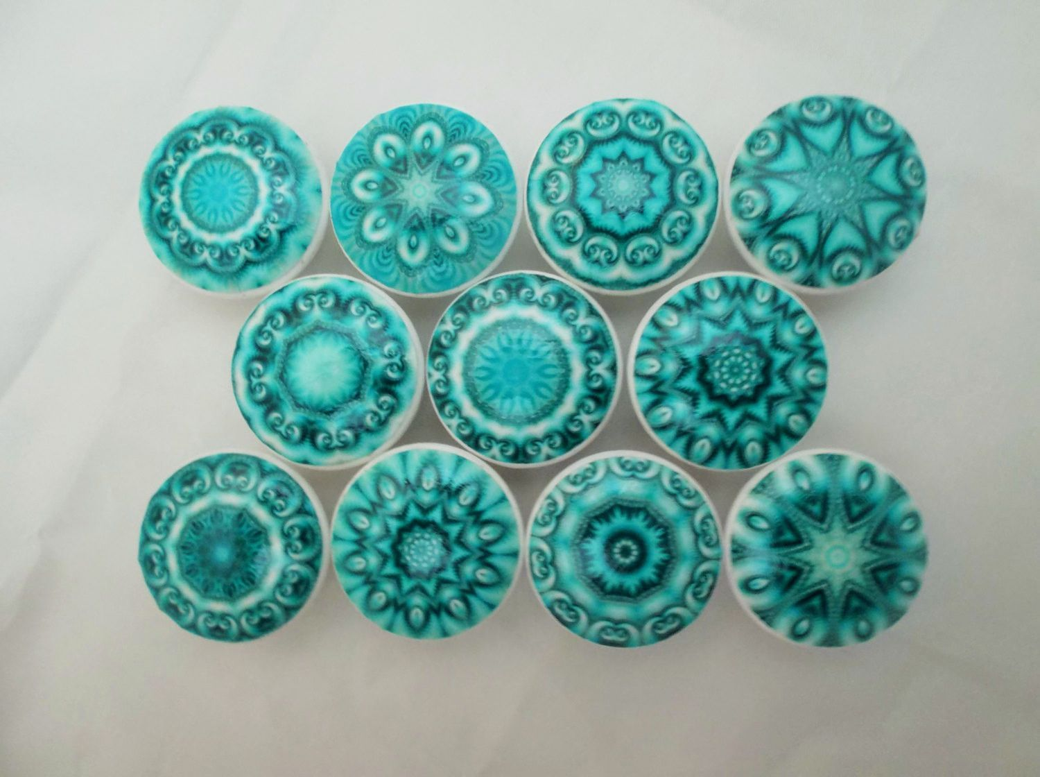 Set of 10 aqua blue mandala cabinet knobs kitchens for Turquoise cabinet pulls