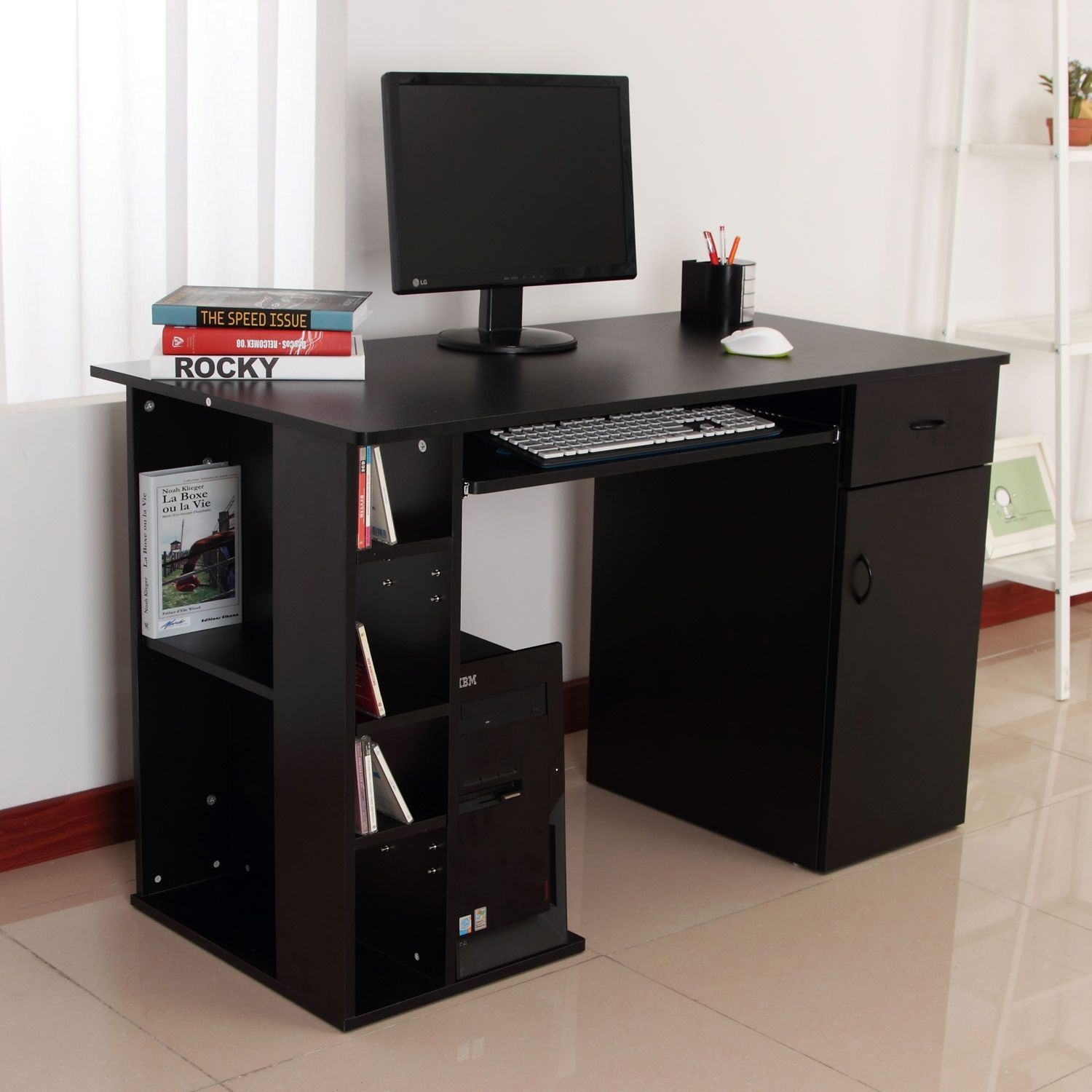 Awe Inspiring Small Computer Desk With Printer Shelf Hixpce Info