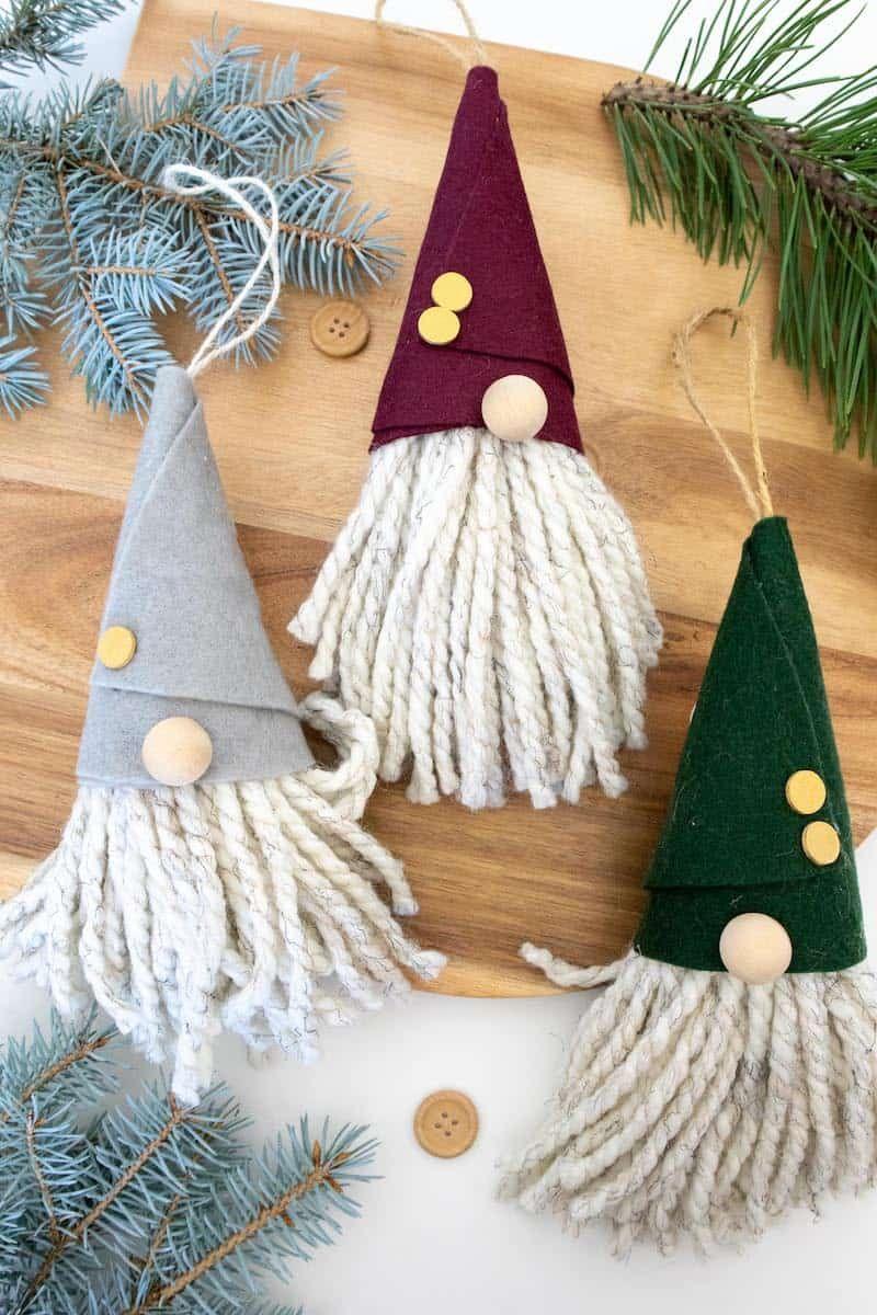 DIY No Sew Gnome Ornaments   Christmas ornaments to make ...