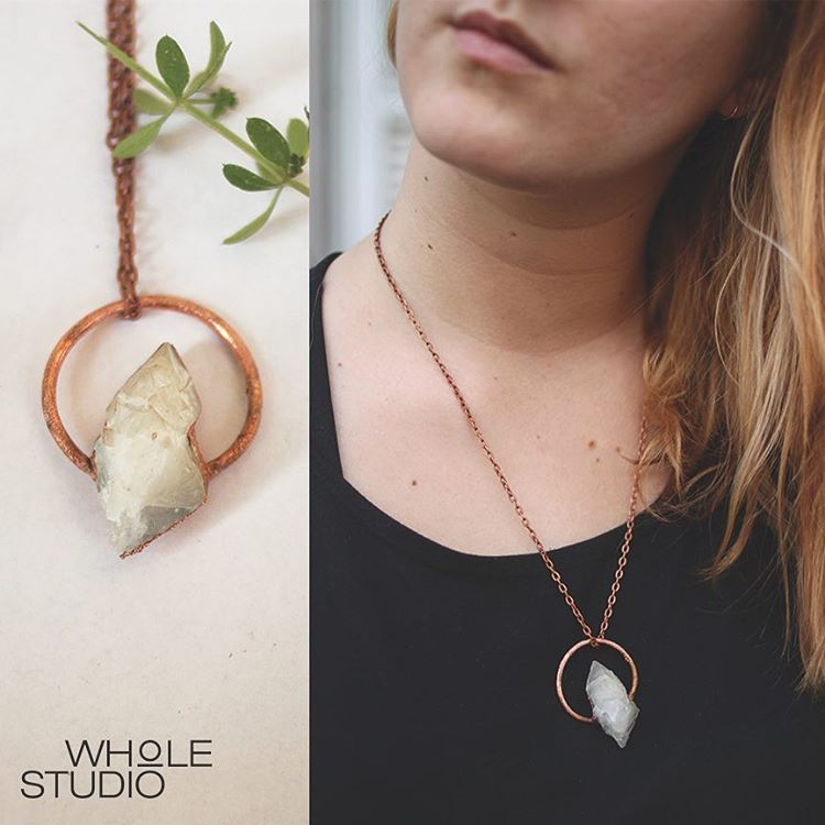 Quartz Copper Necklace by wholestudio on etsy