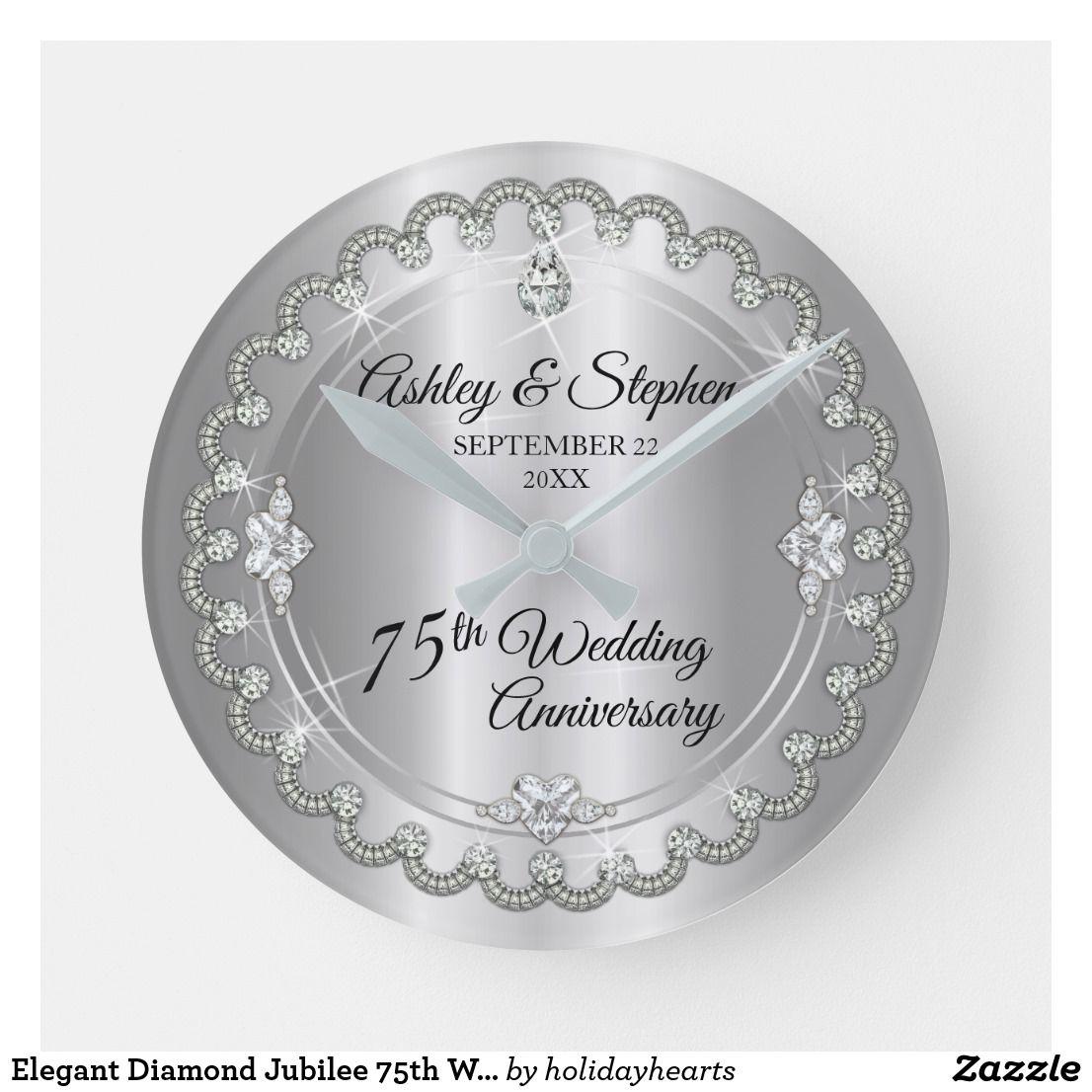 Elegant Diamond Jubilee 75th Wedding Anniversary Round Clock Zazzle Com Au 45th Wedding Anniversary Gifts 40th Wedding Anniversary 2nd Wedding Anniversary