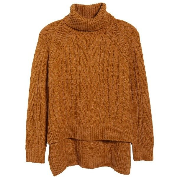 4894d203df Women s Dreamers By Debut Cable Knit Turtleneck Sweater ( 49) ❤ liked on  Polyvore featuring tops