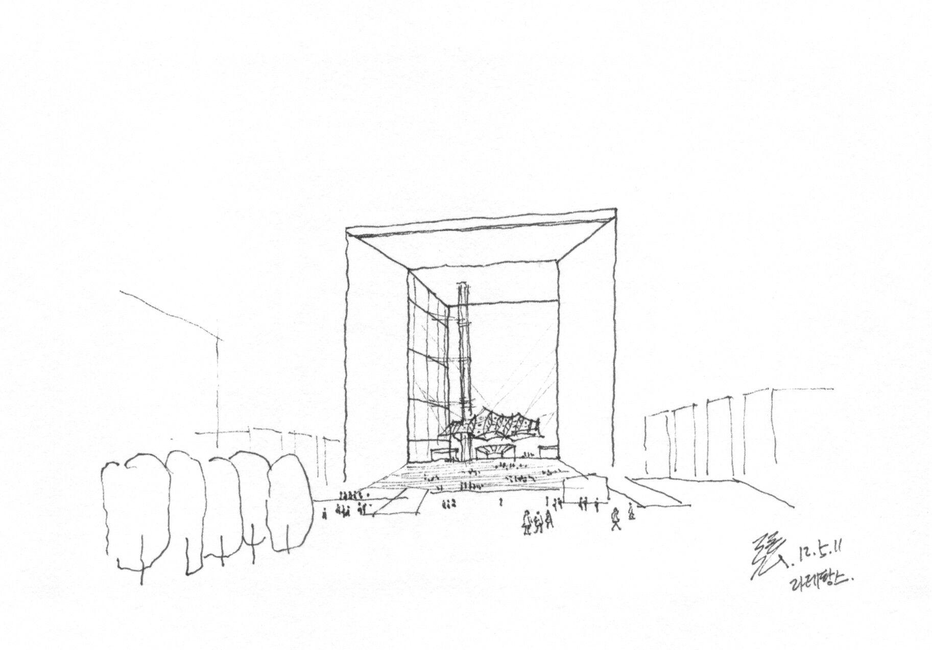 La Grande Arche designed by Johann Otto von Spreckelsen in the La Defense @ Paris, France, 20120511 / Sketch by Youngdong Jang