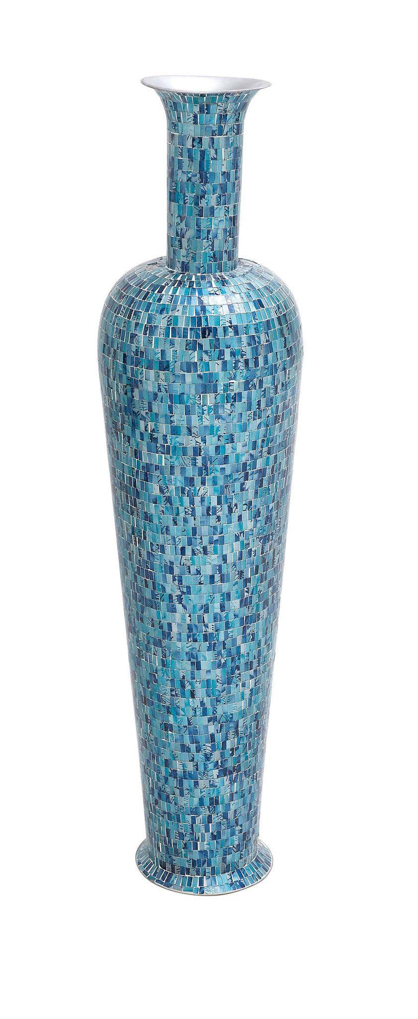 49 tall blue metal mosaic standing floor vase modern contemporary 49 tall blue metal mosaic standing floor vase modern contemporary decor reviewsmspy