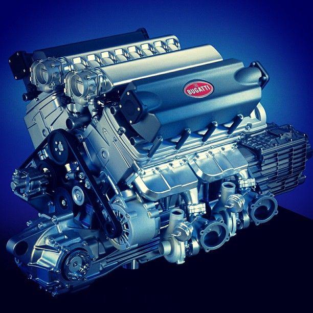 Een Bugatti Veyron V16 De Motor Heeft Heel Veel
