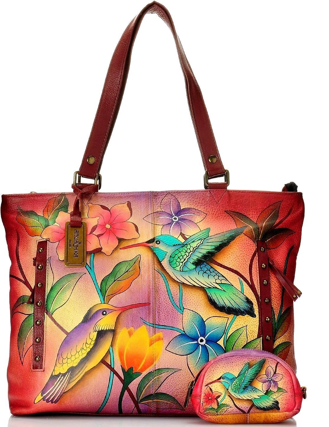 a7c57537cecb Anuschka Hand Painted Leather Zip Top Oversized Tote with Change Purse