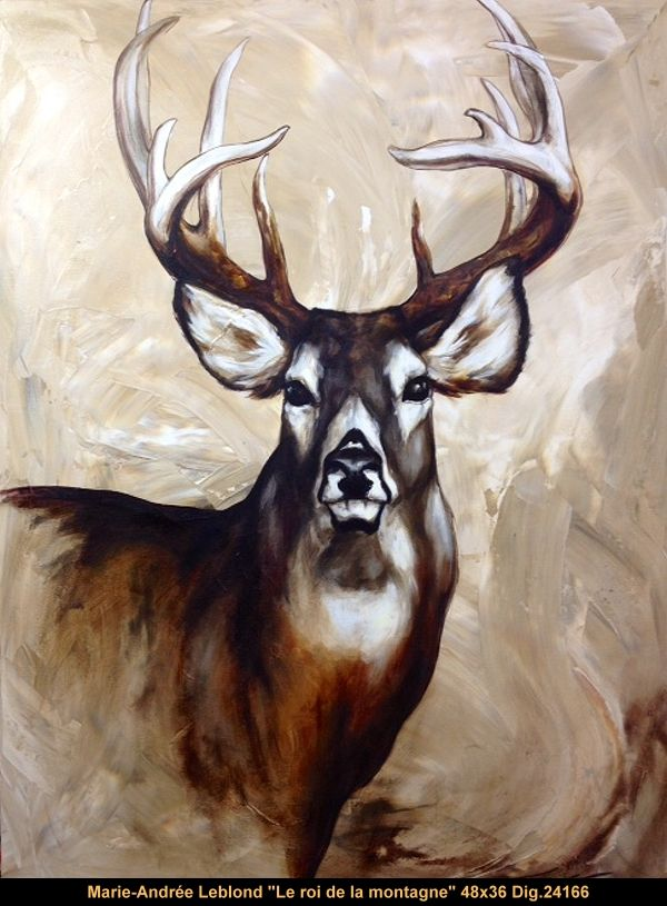 Marie-Andrée Leblond original multi-media painting on canvas Available #marieandreeleblond #art #canadianartist #quebecartist #deer #originalpainting #multiartltee